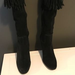 Suede Fringed Boots Sz 8